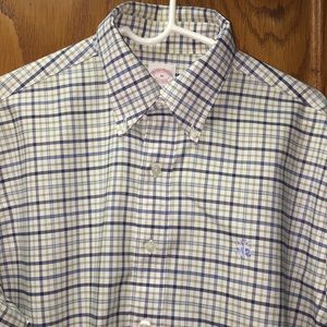 Brooks Brothers Men's White Checkered Shirt